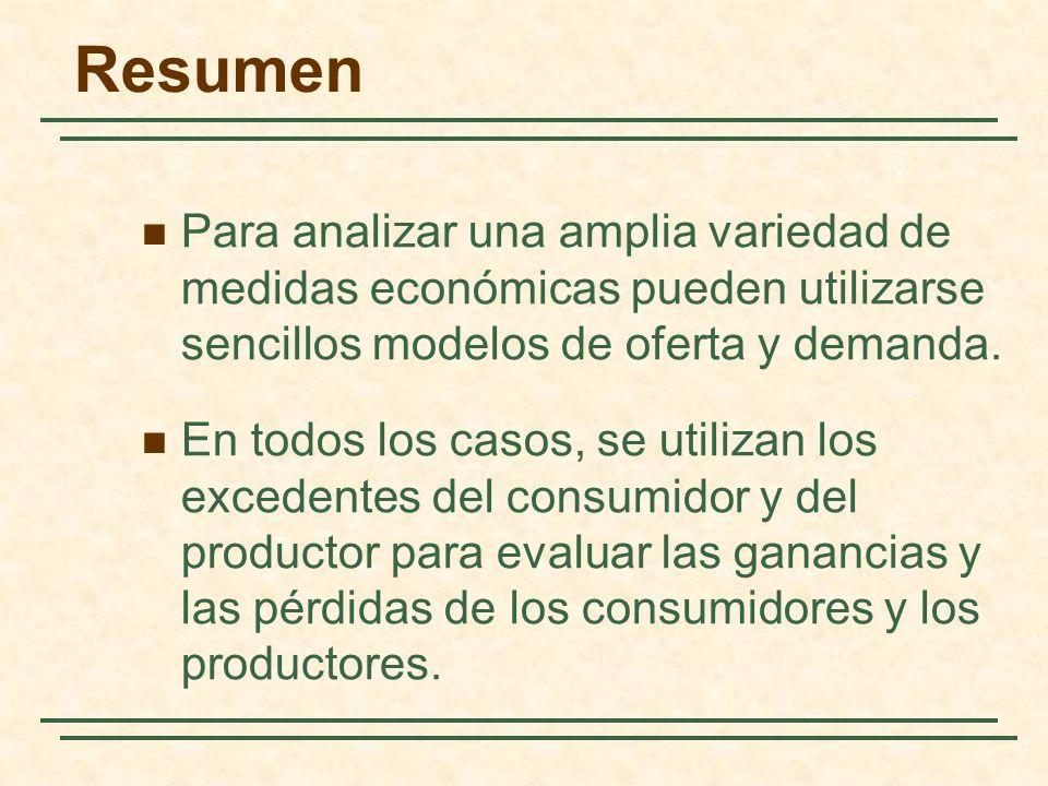 Resumen Para analizar una amplia variedad de medidas económicas pueden utilizarse sencillos modelos de oferta y demanda.