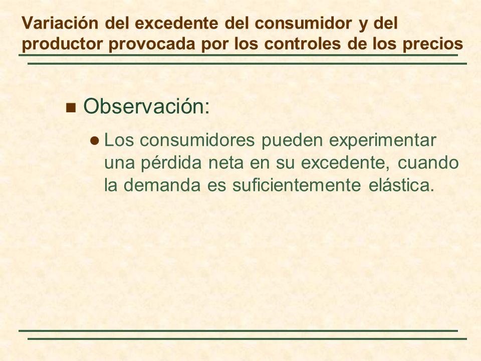 Observación: Los consumidores pueden experimentar una pérdida neta en su excedente, cuando la demanda es suficientemente elástica.