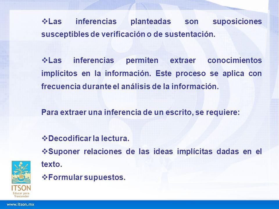 Las inferencias planteadas son suposiciones susceptibles de verificación o de sustentación. Las inferencias permiten extraer conocimientos implícitos