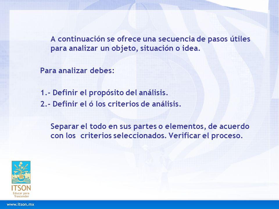 A continuación se ofrece una secuencia de pasos útiles para analizar un objeto, situación o idea. Para analizar debes: 1.- Definir el propósito del an
