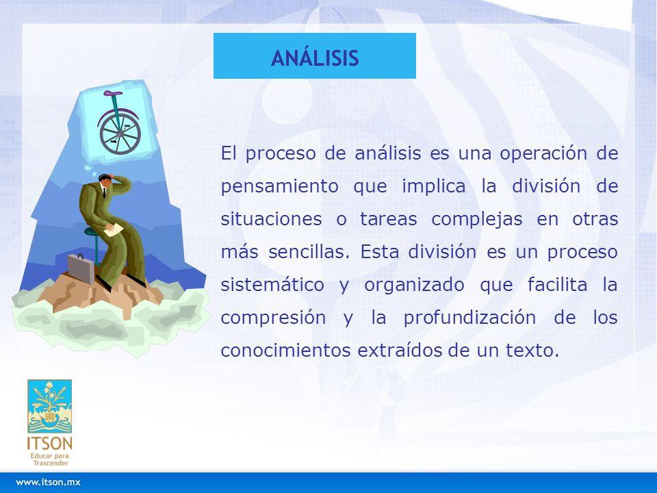 El proceso de análisis es una operación de pensamiento que implica la división de situaciones o tareas complejas en otras más sencillas. Esta división