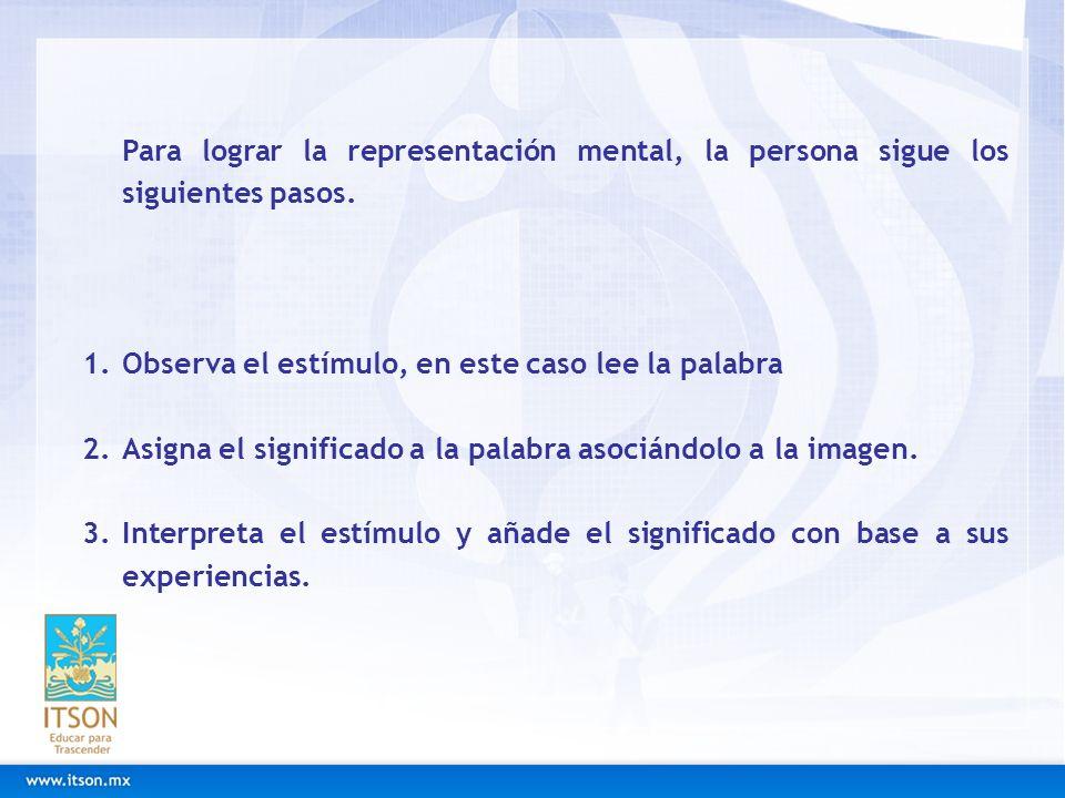 Para lograr la representación mental, la persona sigue los siguientes pasos. 1.Observa el estímulo, en este caso lee la palabra 2.Asigna el significad