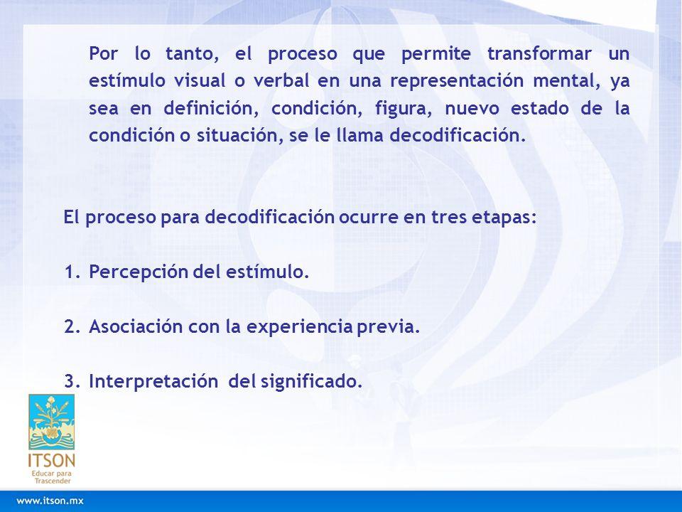 Por lo tanto, el proceso que permite transformar un estímulo visual o verbal en una representación mental, ya sea en definición, condición, figura, nu