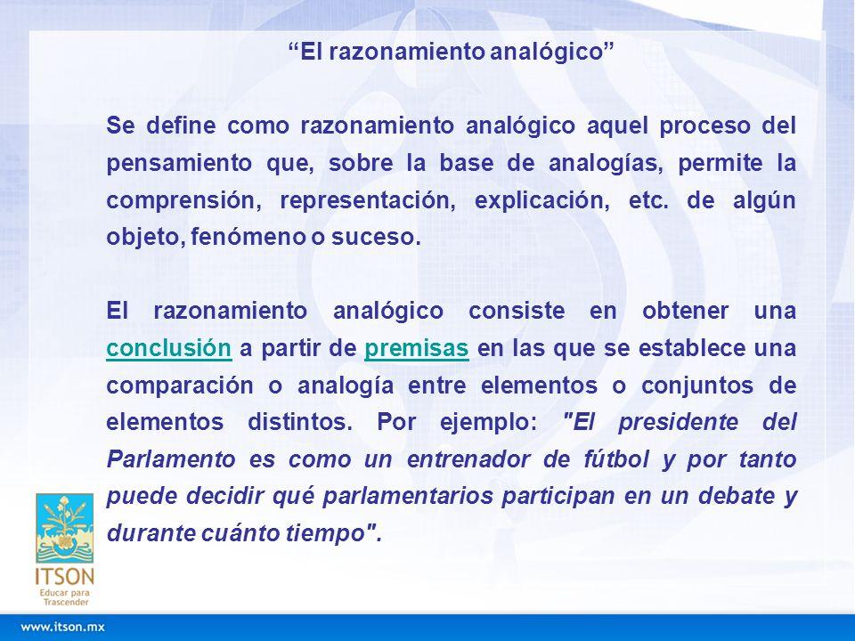 El razonamiento analógico Se define como razonamiento analógico aquel proceso del pensamiento que, sobre la base de analogías, permite la comprensión,