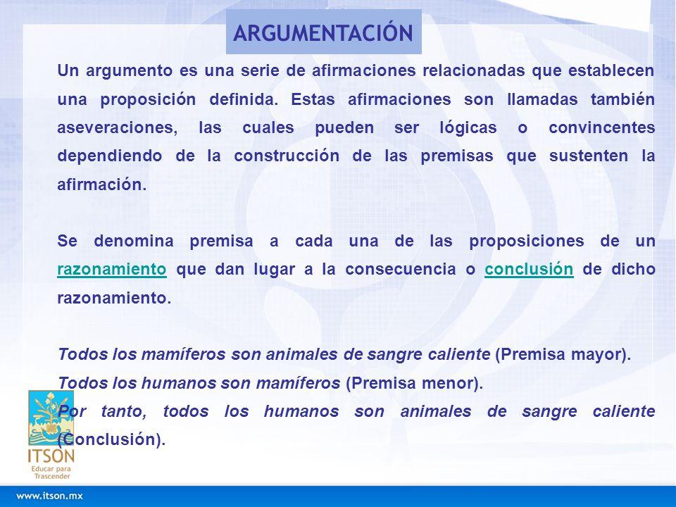 Un argumento es una serie de afirmaciones relacionadas que establecen una proposición definida. Estas afirmaciones son llamadas también aseveraciones,