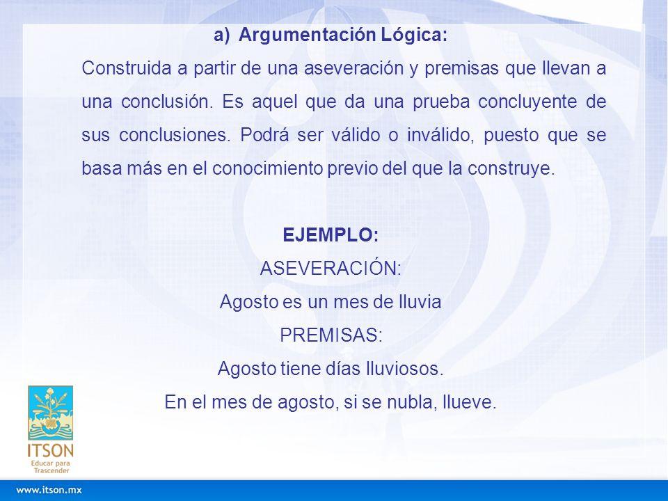 a)Argumentación Lógica: Construida a partir de una aseveración y premisas que llevan a una conclusión. Es aquel que da una prueba concluyente de sus c
