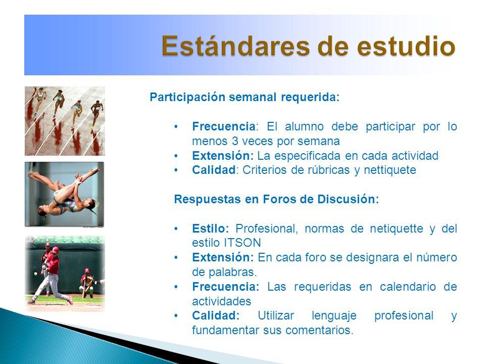 Participación semanal requerida: Frecuencia: El alumno debe participar por lo menos 3 veces por semana Extensión: La especificada en cada actividad Ca