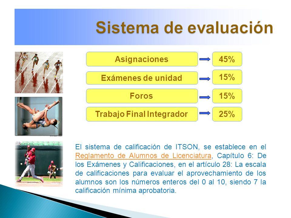 Asignaciones Exámenes de unidad Foros Trabajo Final Integrador 45% 15% 25% El sistema de calificación de ITSON, se establece en el Reglamento de Alumn