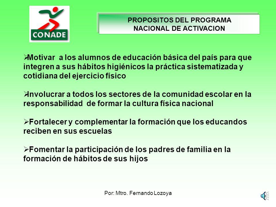Por: Mtro. Fernando Lozoya TEMA: ALGORITMO PARA FORMULAR UN SISTEMA DE PROPÓSITOS PARA LAS SESIONES DE ACTIVACIÓN FÍSICA PEDAGOGIA DEL DEPORTE Encende