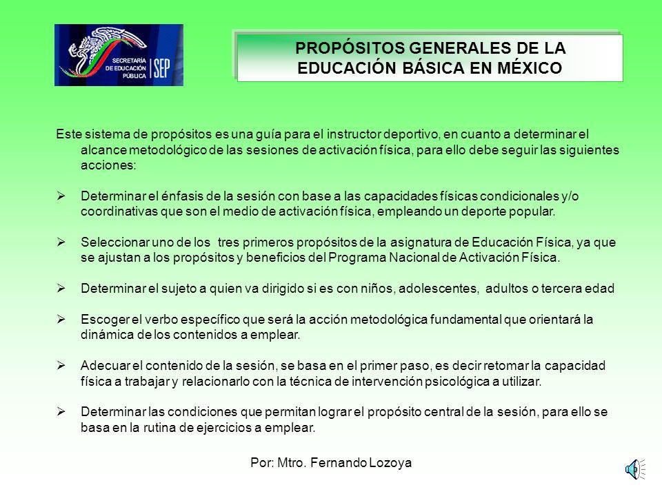 Por: Mtro. Fernando Lozoya PROPOSITOS GENERALES DE LA EDUCACIÓN BÁSICA EN MÉXICO Específicamente, en la asignatura de Educación Física estas tres cate