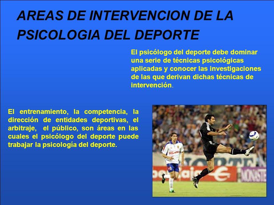 AREAS DE INTERVENCION DE LA PSICOLOGIA DEL DEPORTE El entrenamiento, la competencia, la dirección de entidades deportivas, el arbitraje, el público, s