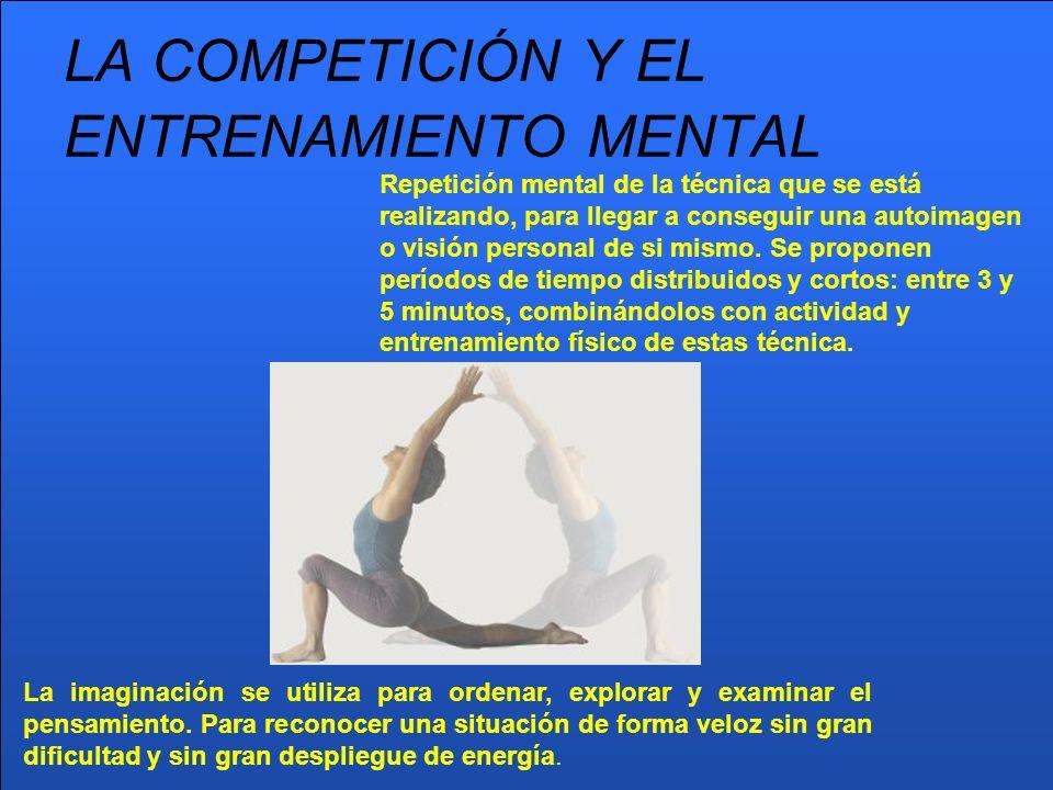 LA COMPETICIÓN Y EL ENTRENAMIENTO MENTAL Repetición mental de la técnica que se está realizando, para llegar a conseguir una autoimagen o visión perso