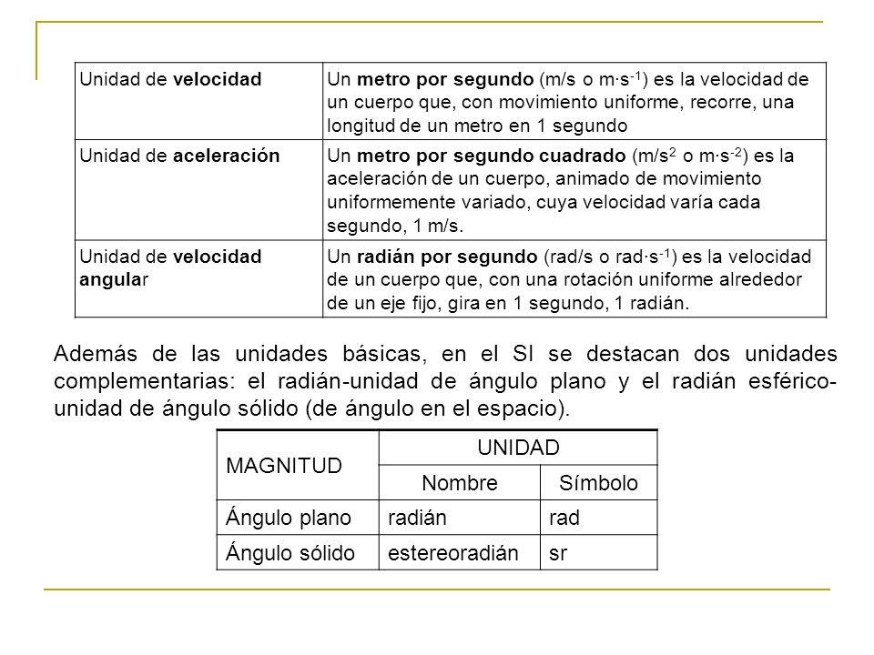 Además de las unidades básicas, en el SI se destacan dos unidades complementarias: el radián-unidad de ángulo plano y el radián esférico- unidad de án