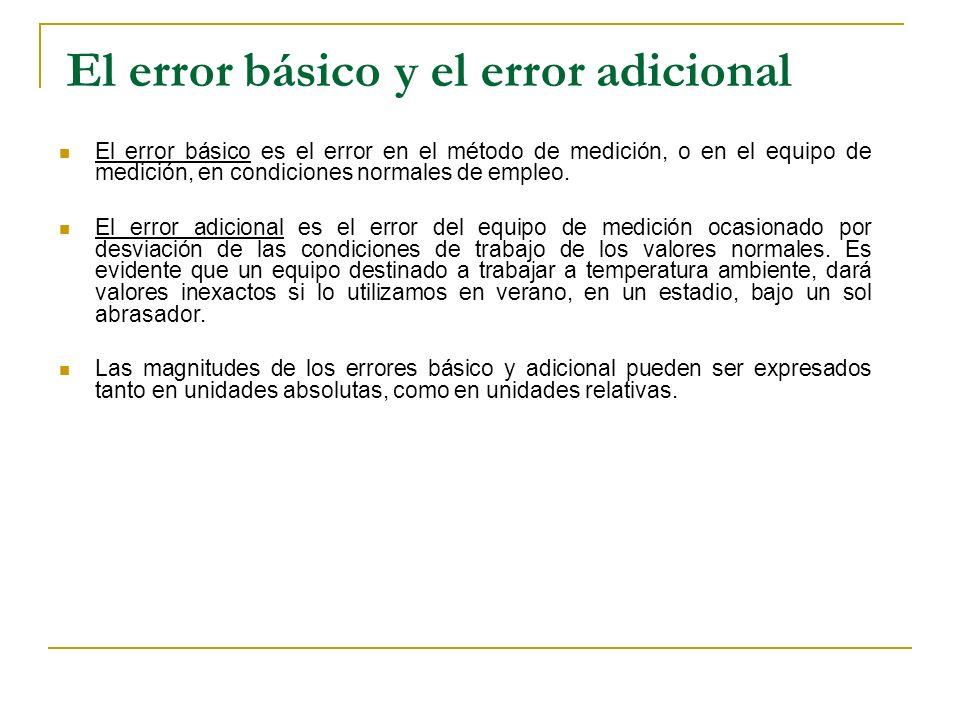 El error básico es el error en el método de medición, o en el equipo de medición, en condiciones normales de empleo. El error adicional es el error de