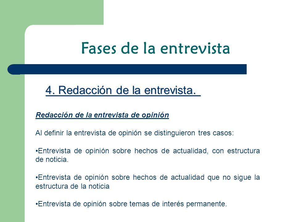 Redacción de la entrevista de opinión Al definir la entrevista de opinión se distinguieron tres casos: Entrevista de opinión sobre hechos de actualida