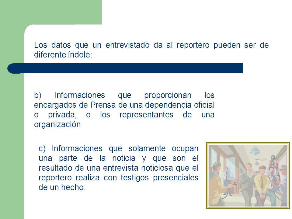 Los datos que un entrevistado da al reportero pueden ser de diferente índole: b) Informaciones que proporcionan los encargados de Prensa de una depend