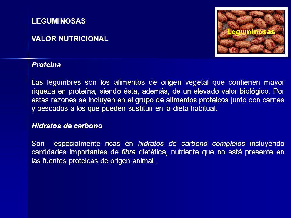 LEGUMINOSAS VALOR NUTRICIONAL Proteína Las legumbres son los alimentos de origen vegetal que contienen mayor riqueza en proteína, siendo ésta, además,
