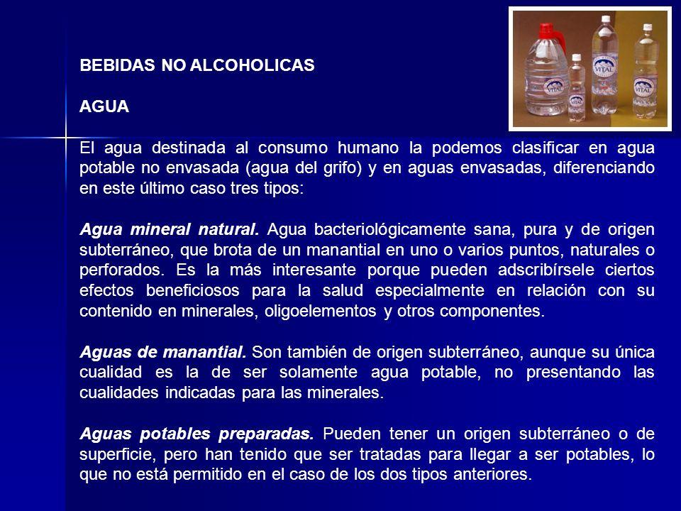 BEBIDAS NO ALCOHOLICAS AGUA El agua destinada al consumo humano la podemos clasificar en agua potable no envasada (agua del grifo) y en aguas envasad