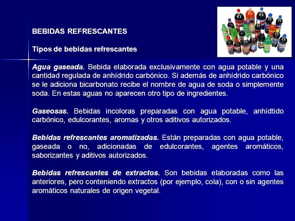 BEBIDAS REFRESCANTES Tipos de bebidas refrescantes Agua gaseada. Bebida elaborada exclusivamente con agua potable y una cantidad regulada de anhídrido