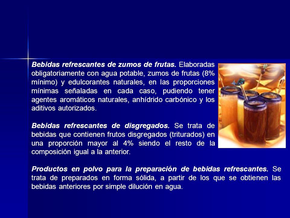 Bebidas refrescantes de zumos de frutas. Elaboradas obligatoriamente con agua potable, zumos de frutas (8% mínimo) y edulcorantes naturales, en las p