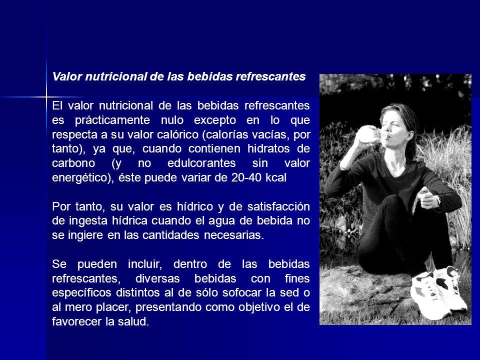 Valor nutricional de las bebidas refrescantes El valor nutricional de las bebidas refrescantes es prácticamente nulo excepto en lo que respecta a su