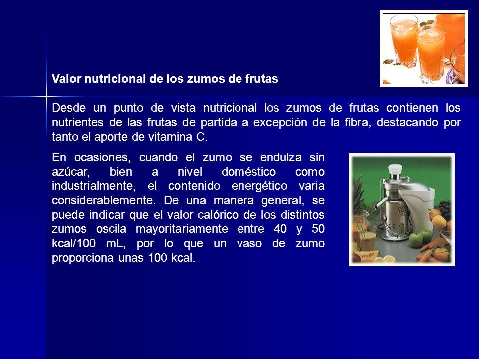 Valor nutricional de los zumos de frutas Desde un punto de vista nutricional los zumos de frutas contienen los nutrientes de las frutas de partida a