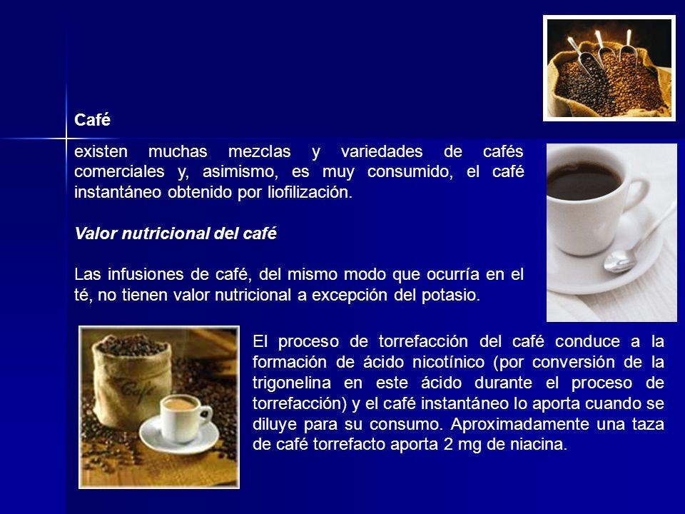 Café existen muchas mezclas y variedades de cafés comerciales y, asimismo, es muy consumido, el café instantáneo obtenido por liofilización. Valor nut