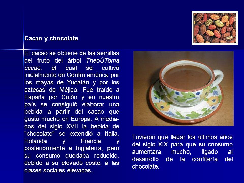Cacao y chocolate El cacao se obtiene de las semillas del fruto del árbol TheoÚToma cacao, el cual se cultivó inicialmente en Centro américa por los m