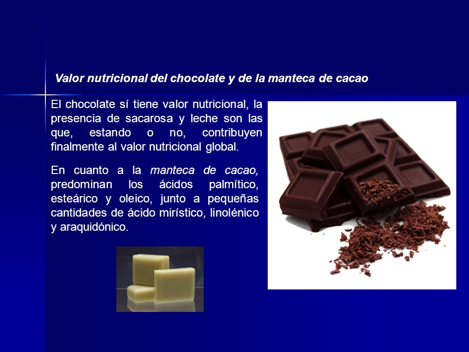 En cuanto a la manteca de cacao, predominan los ácidos palmítico, esteárico y oleico, junto a pequeñas cantidades de ácido mirístico, linolénico y ara
