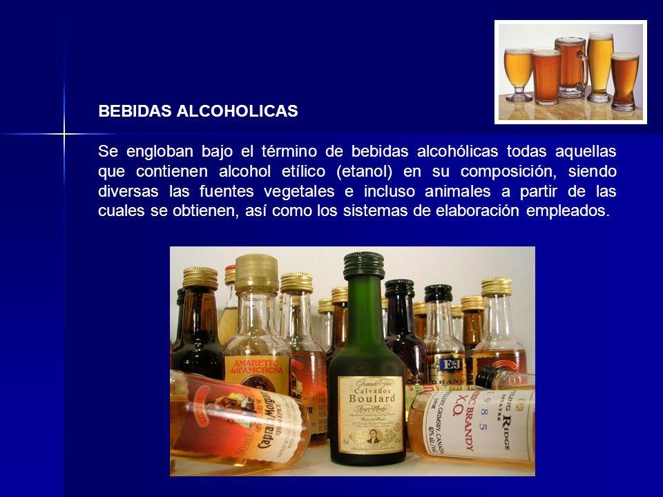 BEBIDAS ALCOHOLICAS Se engloban bajo el término de bebidas alcohólicas todas aquellas que contienen alcohol etílico (etanol) en su composición, siendo