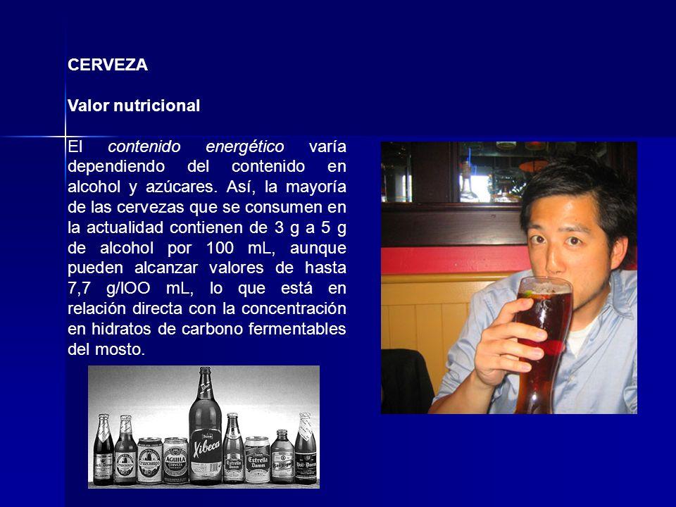 CERVEZA Valor nutricional El contenido energético varía dependiendo del contenido en alcohol y azúcares. Así, la mayoría de las cervezas que se consum