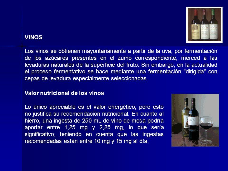 VINOS Los vinos se obtienen mayoritariamente a partir de la uva, por fermentación de los azúcares presentes en el zumo correspondiente, merced a las l