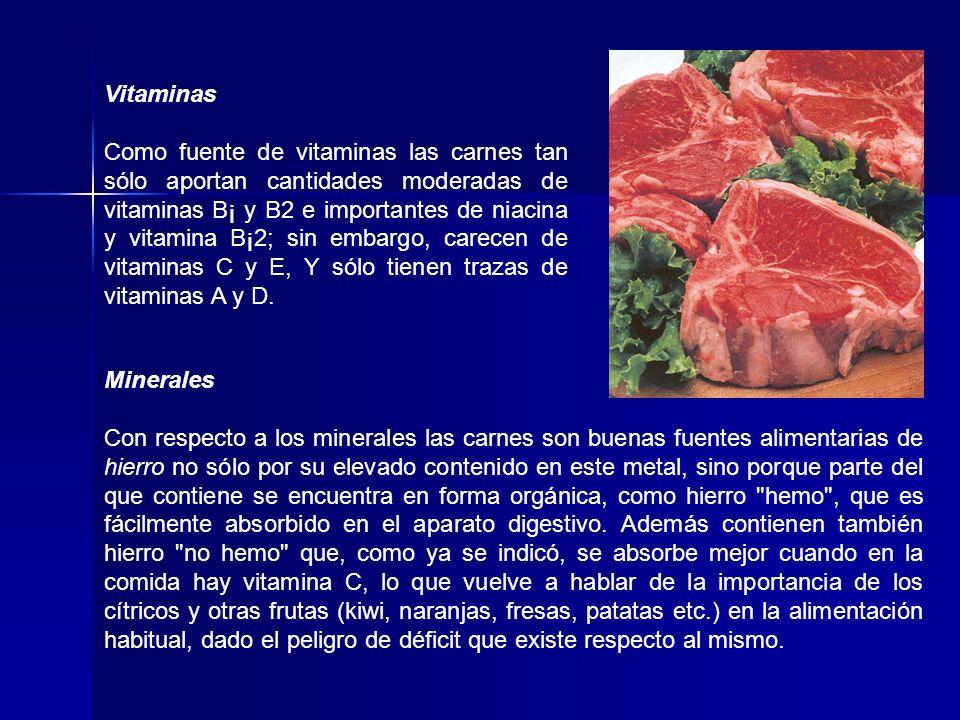 Vitaminas Como fuente de vitaminas las carnes tan sólo aportan cantidades moderadas de vitaminas B¡ y B2 e importantes de niacina y vitamina B¡2; sin