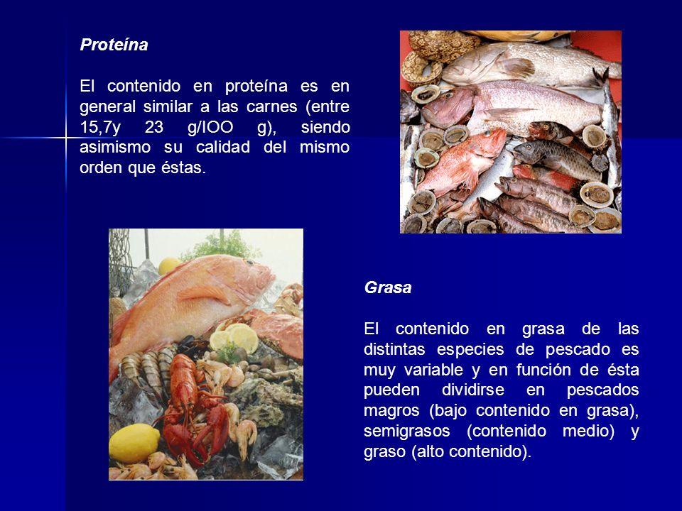 Proteína El contenido en proteína es en general similar a las carnes (entre 15,7y 23 g/IOO g), siendo asimismo su calidad del mismo orden que éstas. G