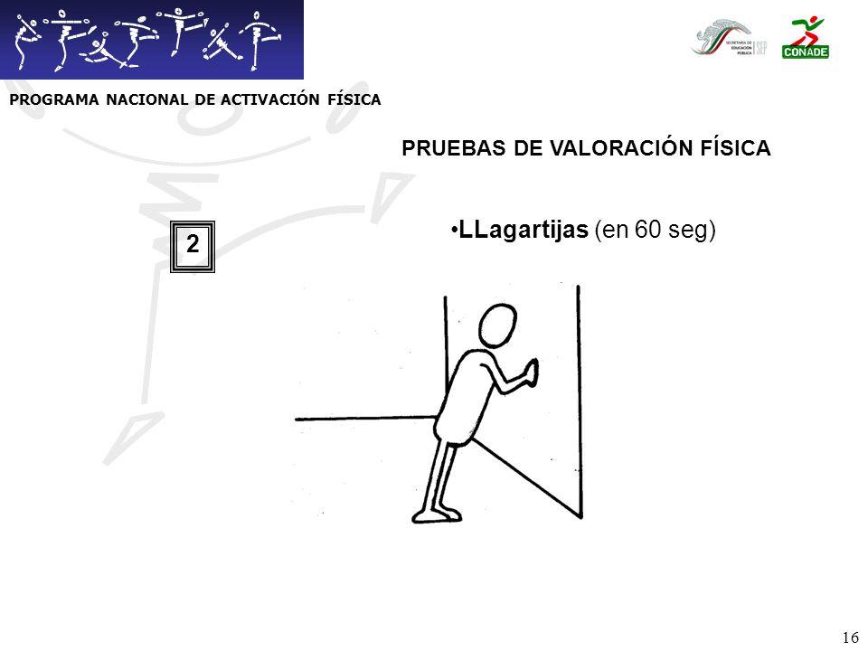 17 Flexibilidad (inclinación máxima) Espinilla Empeine Punta de pies 3 PRUEBAS DE VALORACIÓN FÍSICA PROGRAMA NACIONAL DE ACTIVACIÓN FÍSICA