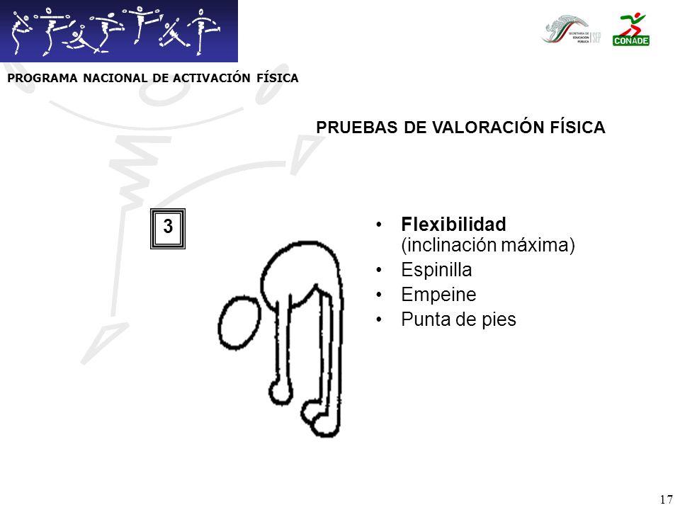 18 Abdominales (en 60 seg) 4 PRUEBAS DE VALORACIÓN FÍSICA PROGRAMA NACIONAL DE ACTIVACIÓN FÍSICA