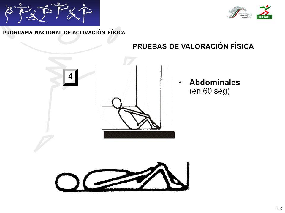 19 Sentadillas (en 60 seg) 5 PRUEBAS DE VALORACIÓN FÍSICA PROGRAMA NACIONAL DE ACTIVACIÓN FÍSICA