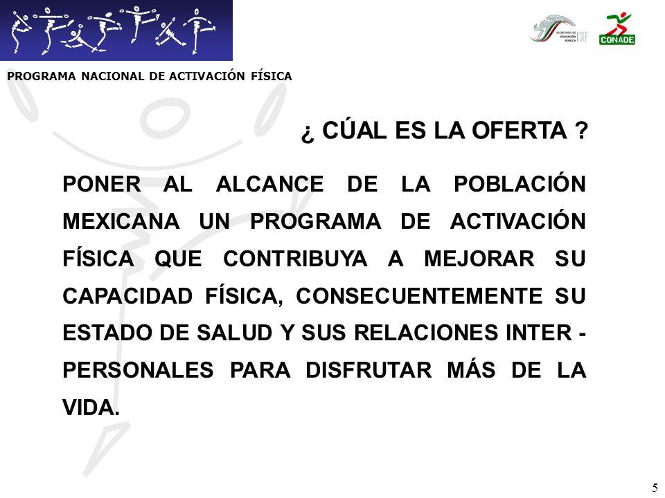 6 CONTRIBUIR A FORMAR UNA CULTURA FISICA QUE PERMITA TENER MEXICANAS Y MEXICANOS MAS SANOS Y PRODUCTIVOS.