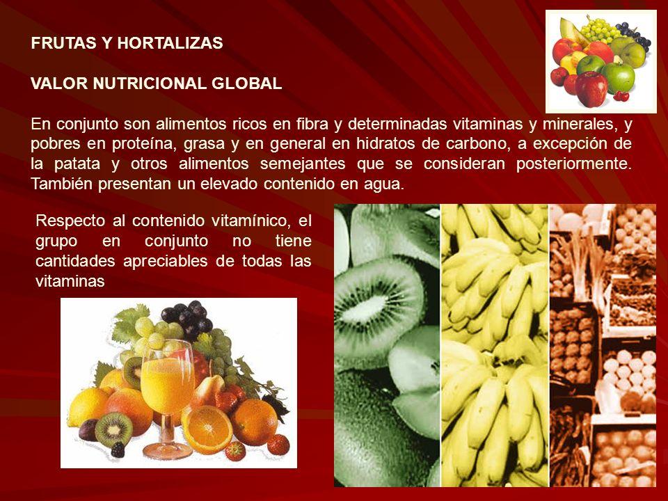 FRUTAS Y HORTALIZAS VALOR NUTRICIONAL GLOBAL En conjunto son alimentos ricos en fibra y determinadas vitaminas y minerales, y pobres en proteína, gras