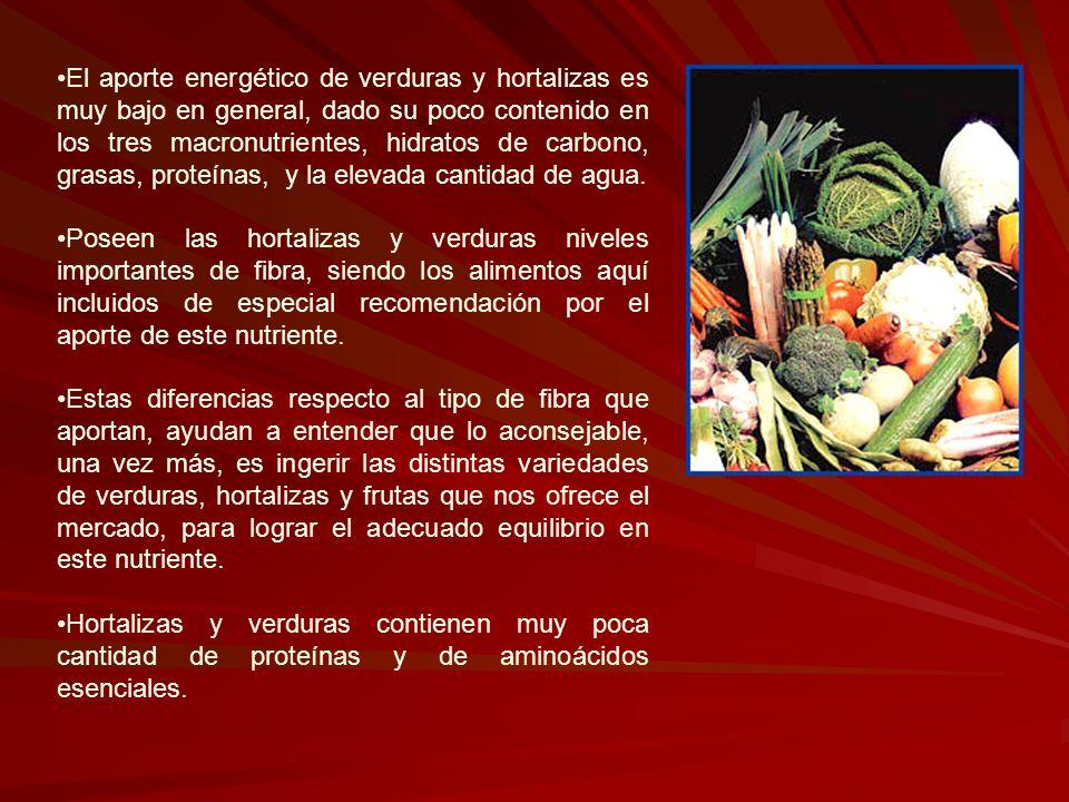 El aporte energético de verduras y hortalizas es muy bajo en general, dado su poco contenido en los tres macronutrientes, hidratos de carbono, grasas,