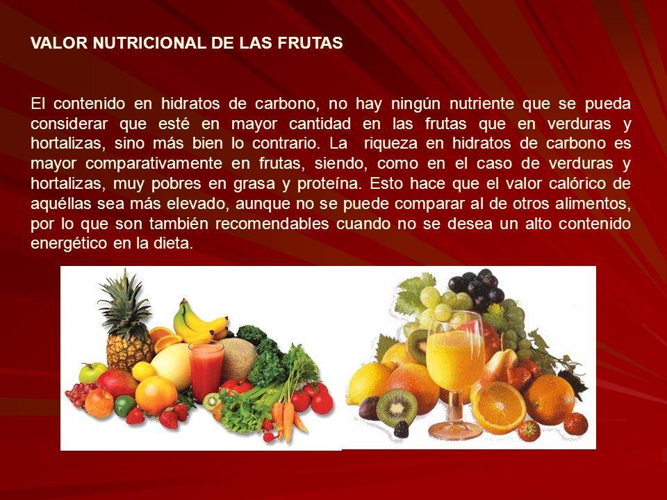 VALOR NUTRICIONAL DE LAS FRUTAS El contenido en hidratos de carbono, no hay ningún nutriente que se pueda considerar que esté en mayor cantidad en las