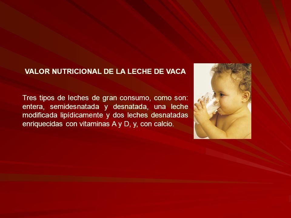 VALOR NUTRICIONAL DE LA LECHE DE VACA Tres tipos de leches de gran consumo, como son: entera, semidesnatada y desnatada, una leche modificada lipídica