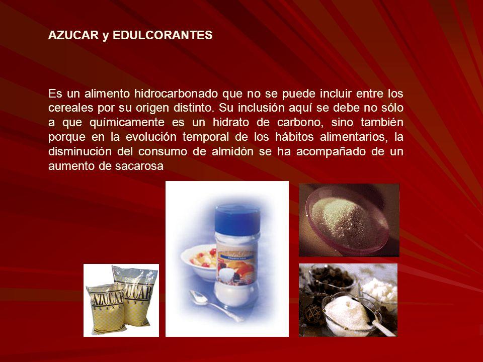 AZUCAR y EDULCORANTES Es un alimento hidrocarbonado que no se puede incluir entre los cereales por su origen distinto. Su inclusión aquí se debe no só