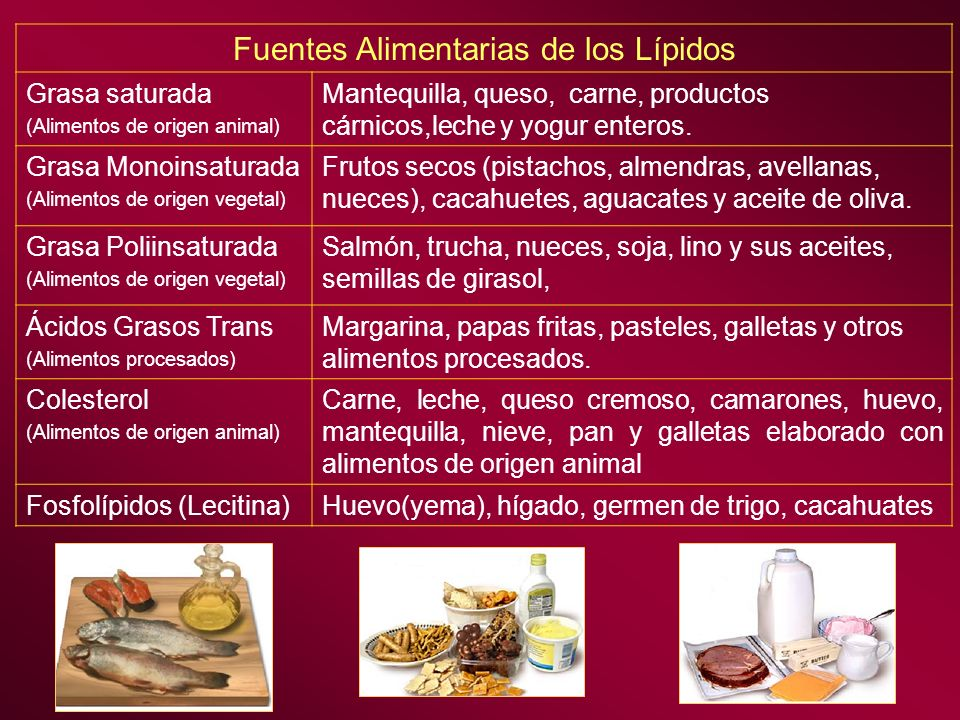 Fuentes Alimentarias de los Lípidos Grasa saturada (Alimentos de origen animal) Mantequilla, queso, carne, productos cárnicos,leche y yogur enteros. G