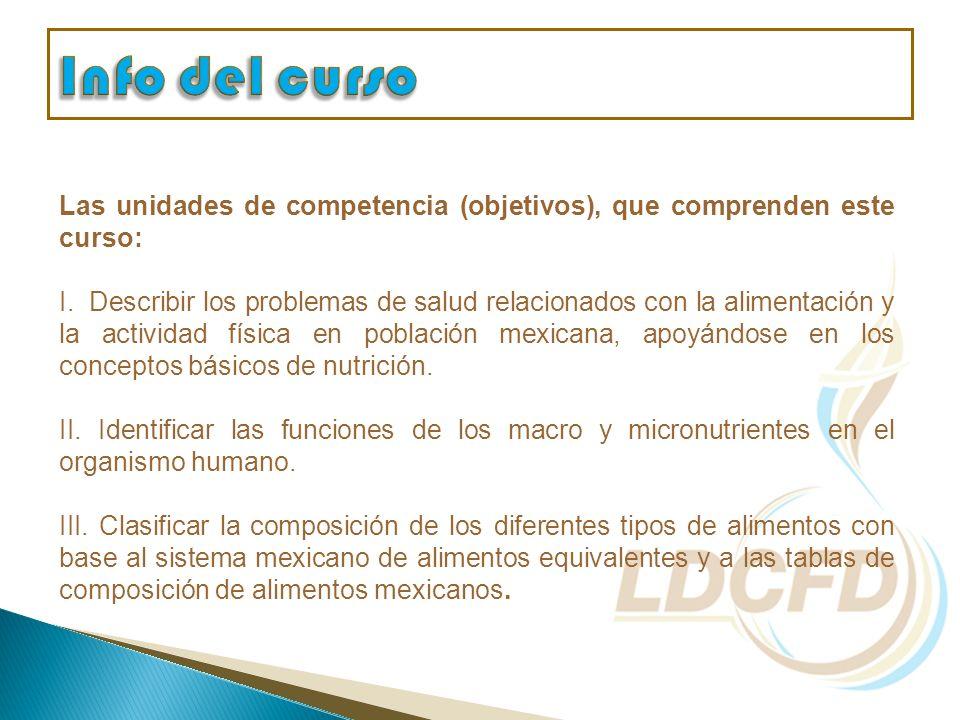 Las unidades de competencia (objetivos), que comprenden este curso: I. Describir los problemas de salud relacionados con la alimentación y la activida