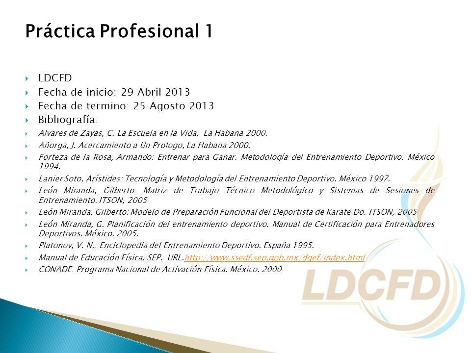 Práctica Profesional 1 LDCFD Fecha de inicio: 29 Abril 2013 Fecha de termino: 25 Agosto 2013 Bibliografía: Alvares de Zayas, C. La Escuela en la Vida.