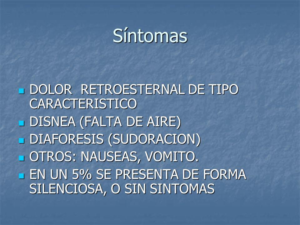 Síntomas DOLOR RETROESTERNAL DE TIPO CARACTERISTICO DOLOR RETROESTERNAL DE TIPO CARACTERISTICO DISNEA (FALTA DE AIRE) DISNEA (FALTA DE AIRE) DIAFORESI