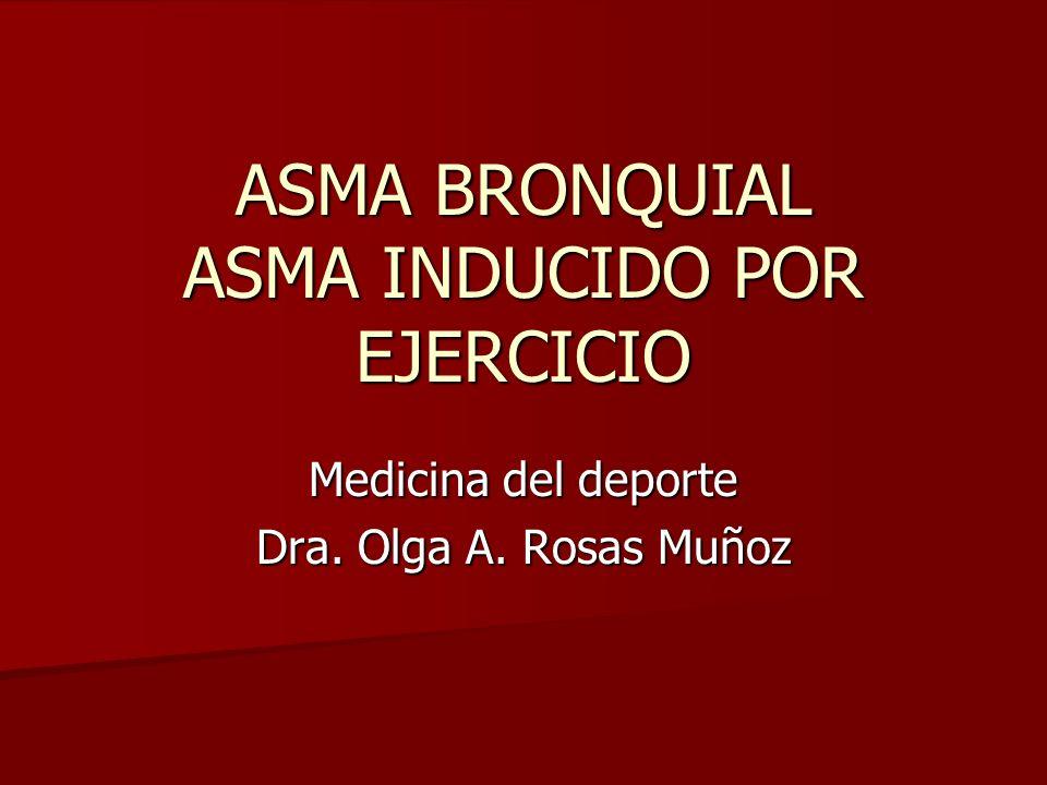 Medicina del deporte Dra. Olga A. Rosas Muñoz ASMA BRONQUIAL ASMA INDUCIDO POR EJERCICIO