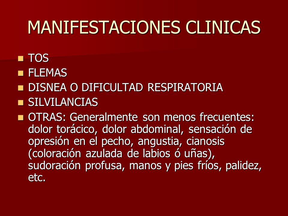 MANIFESTACIONES CLINICAS TOS TOS FLEMAS FLEMAS DISNEA O DIFICULTAD RESPIRATORIA DISNEA O DIFICULTAD RESPIRATORIA SILVILANCIAS SILVILANCIAS OTRAS: Gene