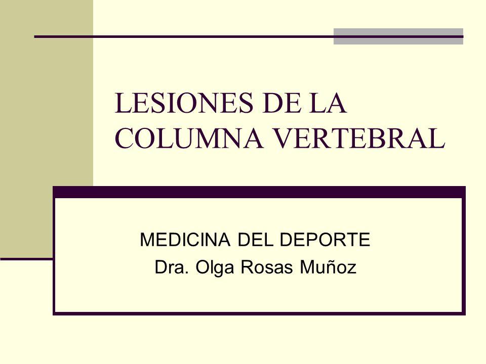 LESIONES DE LA COLUMNA VERTEBRAL MEDICINA DEL DEPORTE Dra. Olga Rosas Muñoz